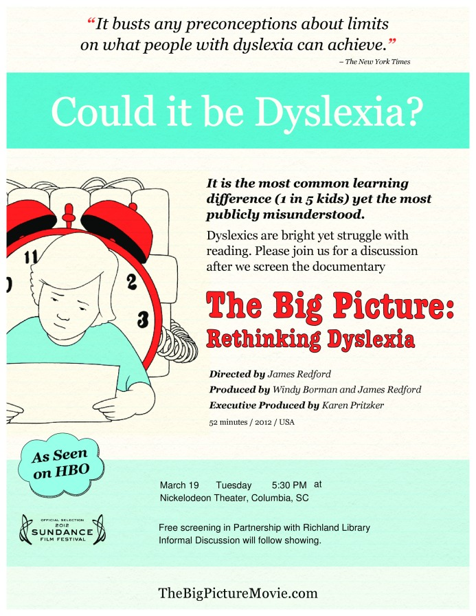 Dyslexia literacy reading learning differences adult literacy columbia nickelodeon theater